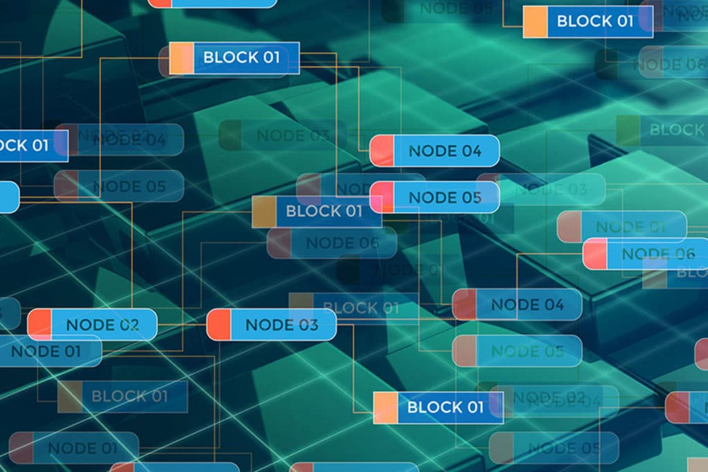Blockchain Graphic Showing Nodes and Blocks